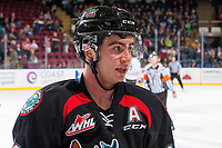 KELOWNA, CANADA - OCTOBER 20: Dillon Dube #19 of the Kelowna Rockets stands on the ice against the Portland Winterhawks on October 20, 2017 at Prospera Place in Kelowna, British Columbia, Canada.  (Photo by Marissa Baecker/Shoot the Breeze)  *** Local Caption ***