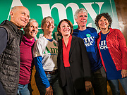 26 JANUARY 2020 - AMES, IOWA: People pose for selfies with US Senator AMY KLOBUCHAR (D-MN) during a campaign event in Ames, IA. Sen. Klobuchar campaigned to support her candidacy for the US Presidency Sunday in central Iowa during the one day break from the impeachment trial of President Trump. She is trying to capitalize on her recent uptick in national polls. Iowa holds the first selection event of the presidential election cycle. The Iowa Caucuses are Feb. 3, 2020.      PHOTO BY JACK KURTZ
