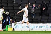 Milton Keynes Dons forward Rhys Healey (10) scores a goal and celebrates  1-0 during the EFL Sky Bet League 1 match between Milton Keynes Dons and Wycombe Wanderers at stadium:mk, Milton Keynes, England on 1 February 2020.