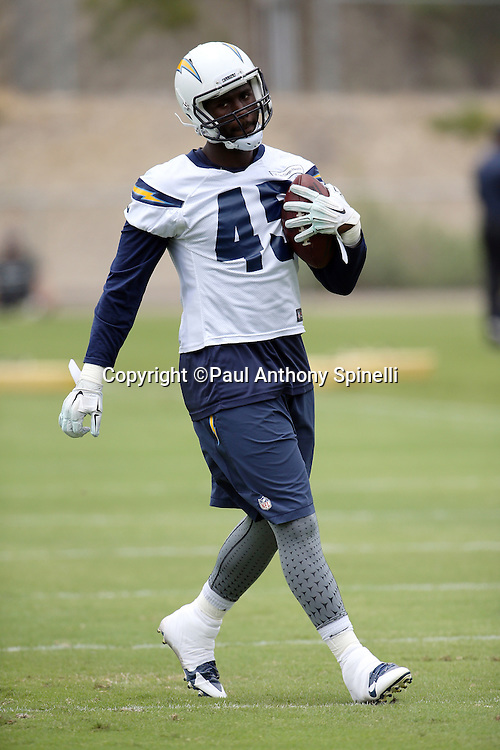 San Diego Chargers tight end Asante Cleveland (45) jogs with the ball after catching a pass during the Chargers 2016 NFL minicamp football practice held on Tuesday, June 14, 2016 in San Diego. (©Paul Anthony Spinelli)