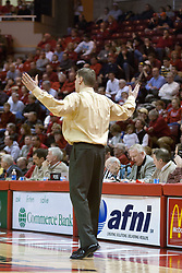 15 January 2005<br /> <br /> ISU Head Coach Porter Moser looks on in disbelief, but the <br /> Illinois State University Redbirds keep the Drake Bulldogs on a leash as they pull ahead in the 2nd half for a74 - 61 Victory.  Redbird Arena, Illinois State University, Normal IL