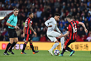 Lewis Cook (16) of AFC Bournemouth challenges Jesse Lingard (14) of Manchester United during the Premier League match between Bournemouth and Manchester United at the Vitality Stadium, Bournemouth, England on 18 April 2018. Picture by Graham Hunt.