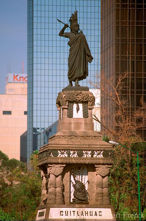 MEXICO, MEXICO CITY, CITYSCAPE Cuauhtemoc Monument on Paseo de la Reforma at Insurgentes, portrays the last Aztec emperor