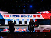 14 JANUARY 2020 - DES MOINES, IOWA:  People stand in front of the stage during the media walkthrough before the CNN Democratic Presidential Debate on the campus of Drake University in Des Moines. This is the last debate before the Iowa Caucuses on Feb. 3.    PHOTO BY JACK KURTZ