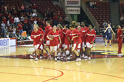 15 March 2007: Redbirds break out of a pre-game huddle. The Owls of Rice university visited the Redbirds of Illinois State University at Redbird Arena in Normal Illinois for a round one WNIT game.