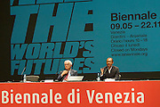 56th Art Biennale in Venice - All The World's Futures.<br /> Arsenale.<br /> Biennale 56 Director Okwui Enwezor (r.), Biennale President Paolo Baratta.