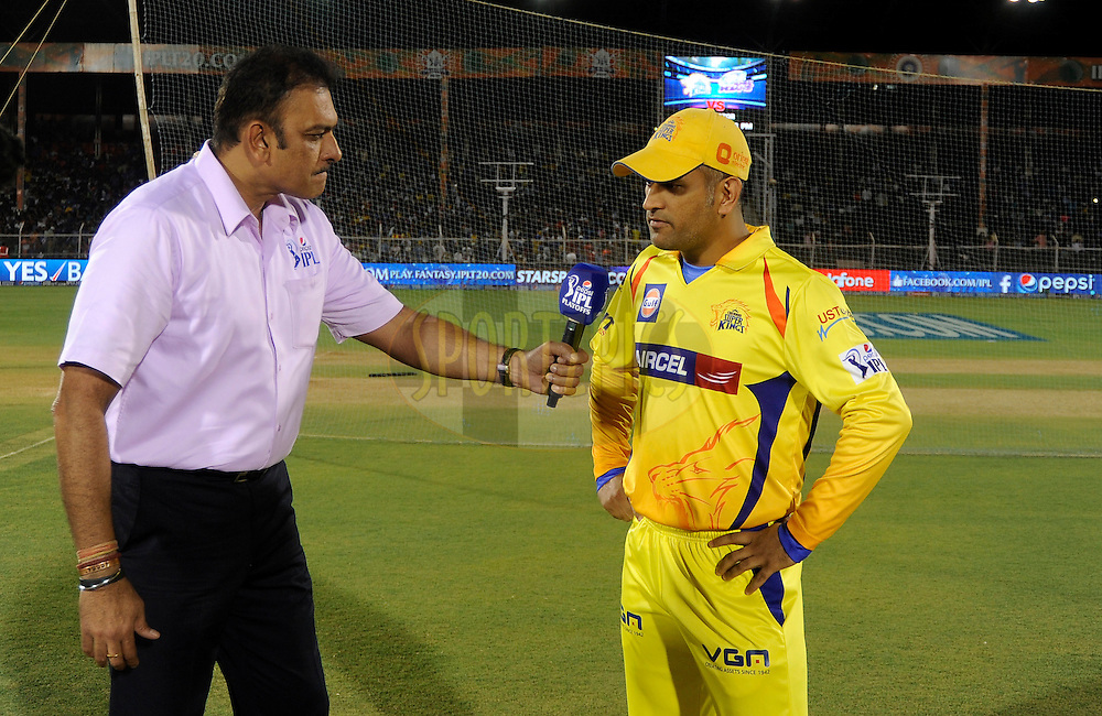 MS Dhoni captain of The Chennai Superkings during the toss before the start of the eliminator match of the Pepsi Indian Premier League Season 2014 between the Chennai Superkings and the Mumbai Indians held at the Brabourne Stadium, Mumbai, India on the 28th May  2014<br /> <br /> Photo by Pal PIllai / IPL / SPORTZPICS<br /> <br /> <br /> <br /> Image use subject to terms and conditions which can be found here:  http://sportzpics.photoshelter.com/gallery/Pepsi-IPL-Image-terms-and-conditions/G00004VW1IVJ.gB0/C0000TScjhBM6ikg
