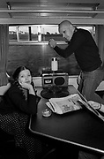 Lena Lovich on the train - Stiff Records 1978