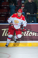 KELOWNA, CANADA - NOVEMBER 9: Alexander Dergachev #25 of Team Russia warms up against the Team WHL on November 9, 2015 during game 1 of the Canada Russia Super Series at Prospera Place in Kelowna, British Columbia, Canada.  (Photo by Marissa Baecker/Western Hockey League)  *** Local Caption *** Alexander Dergachev;