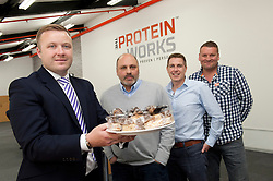 Pictured is, from left, Yorkshire Bank's relationship manager Marc De-Brabander and The Protein Works co-founders Karl Jacobie, Mark Coxhead and Nick Smith.<br /> Yorkshire Bank have supported The Protein Works with the development of a bakery at their site in Runcorn, which has allowed them to expand their product range.<br /> <br /> Yorkshire Bank - The Protein Works<br /> <br /> June 12, 2015