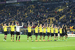01.03.2014, Signal Iduna Park, Dortmund, GER, 1. FBL, Borussia Dortmund vs 1. FC Nuernberg, 23. Runde, im Bild Dortmunder Mannschaft beim Jubel mit der Suedkurve, Schwarz Gelben Wand nach dem Sieg gegen Nuernberg, Emotion, Freude, Glueck, Positiv, Jubel // during the German Bundesliga 23th round match between Borussia Dortmund and 1. FC Nuernberg at the Signal Iduna Park in Dortmund, Germany on 2014/03/01. EXPA Pictures © 2014, PhotoCredit: EXPA/ Eibner-Pressefoto/ Schueler<br /> <br /> *****ATTENTION - OUT of GER*****