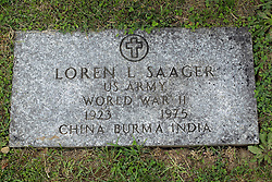 31 August 2017:   Veterans graves in Park Hill Cemetery in eastern McLean County.<br /> <br /> Loren L Saager  US Army World War II  1923 1975  China Burma India