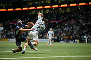 Camille CHAT (Racing 92) battled Tamaz Mchedlidze (SU Agen) and scored a try during the French championship Top 14 Rugby Union match between Racing 92 and SU Agen on September 8, 2018 at U Arena in Nanterre, France - Photo Stephane Allaman / ProSportsImages / DPPI