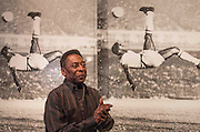 "UNITED KINGDOM, London: 22 September 2015 Legendary footballer Pele stands in front of ""Pele Bicycle Kick Triptych"" (Russell Young, 2015) in the Halcyon Gallery, New Bond Street, as he launches the ""Art, Life, Football"" exhibition - in celebration of Pele's 75th birthday and a lifetime of sporting and humanitarian achievements. The exhibition opens on October 18th and includes photography, paintings and sculptures by the likes of Andy Warhol and Ronnie Wood. <br /> Credit: Story Picture Agency"