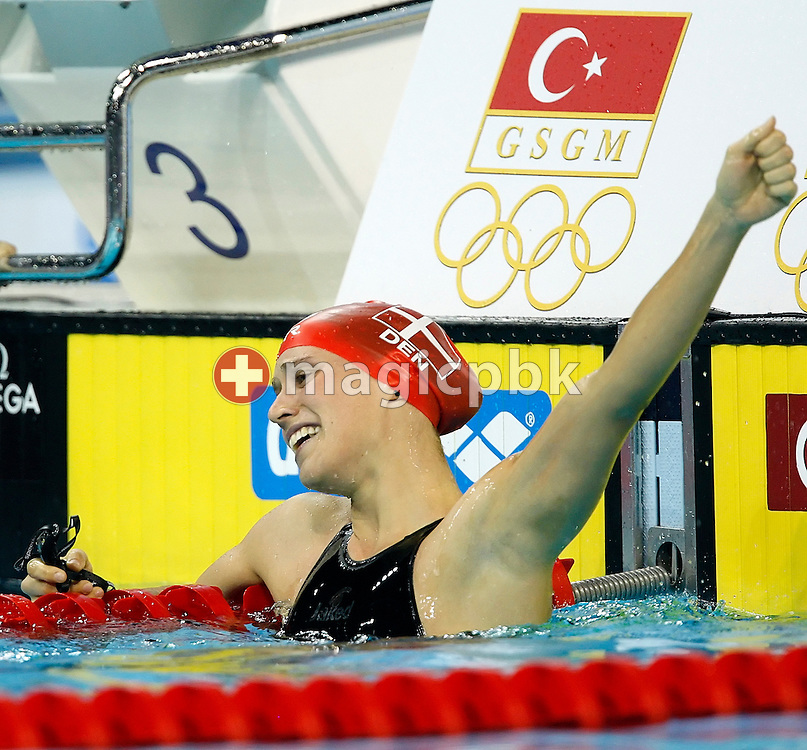 Rikke Moeller PEDERSEN of Denmark celebrates a new European Record after winning in the women's 200m Breaststroke Final at the 13th European Short Course Swimming Championships in Istanbul, Turkey, Friday, Dec. 11, 2009. (Photo by Patrick B. Kraemer / MAGICPBK)
