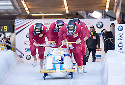 20.01.2019, Olympia Eiskanal, Innsbruck, AUT, BMW IBSF Weltcup Bob, Igls, Herren Viersitzer, 1. Lauf, im Bild Pilot Yunjong Won mit Donghyun Kim, Jinsu Kim, Jeahan Oh (KOR) // Pilot Yunjong Won with Donghyun Kim Jinsu Kim Jeahan Oh of Korea in action during the 1st run of men's four-man Bobsleigh of the BMW IBSF Bob World Cup at the Olympia Eiskanal in Innsbruck, Austria on 2019/01/20. EXPA Pictures © 2019, PhotoCredit: EXPA/ Johann Groder