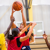 072313       Cable Hoover<br /> <br /> Shaniya Betsoi pulls down a rebound during the True Hoops basketball camp at Rehoboth High School Tuesday.