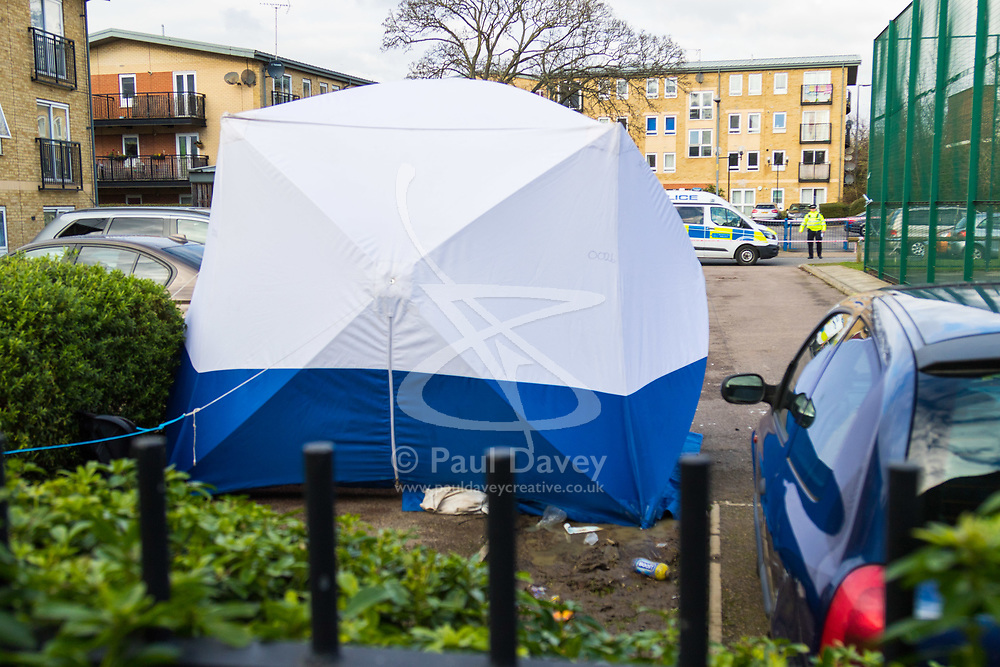 Barking, London - The scene at a housing estate on Abbey Road in Barking, London where a 19 year old died of stab wounds on 3 February 2018 despite attempts by paramedics to save his life. Scotland Yard's murder squad are investigating and have made no arrests so far. PICTURED: A tent covers the site of the stabbing in a car park behind flats. February 04 2018.
