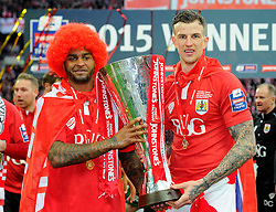 Goal scorers Bristol City's Mark Little and Bristol City's Aden Flint lift the JPT trophy  - Photo mandatory by-line: Joe Meredith/JMP - Mobile: 07966 386802 - 22/03/2015 - SPORT - Football - London - Wembley Stadium - Bristol City v Walsall - Johnstone Paint Trophy Final