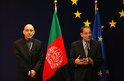 BRUSSELS, BELGIUM - MAY-12-2005 - Hamid Karzai - President of Afghanistan and Javier Solana - High Representative to the EU for Common Foreign and Security Policy, hold a press briefing at the European Council Headquarters, in Brussels. (PHOTO © JOCK FISTICK)<br />