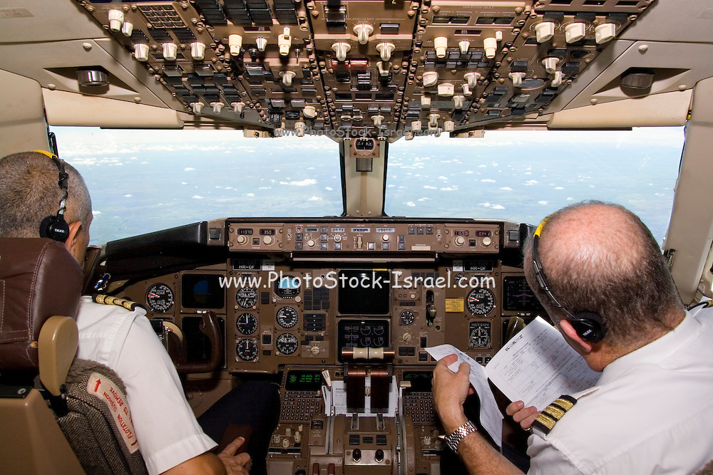 South Africa, The interior of an El-Al Boeing 767 cockpit at take off from Johannesburg