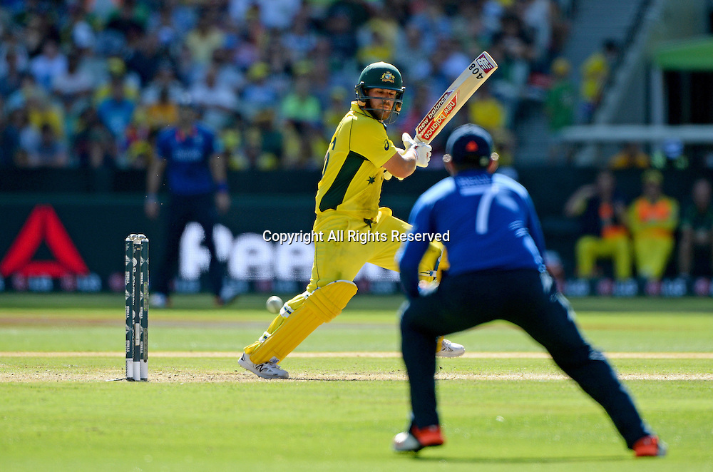 Aaron Finch (AUS)<br /> Australia vs England / Match 2<br /> 2015 ICC Cricket World Cup / Pool A<br /> MCG / Melbourne Cricket Ground <br /> Melbourne Victoria Australia<br /> Saturday 14 February 2015<br /> &copy; Sport the library / Jeff Crow