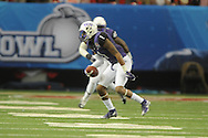 TCU Horned Frogs safety Chris Hackett (1) intercepts a pass against Ole Miss wide receiver Quincy Adeboyejo (8) in the Peach Bowl, in Atlanta, Ga. on Wednesday, December 31, 2014.