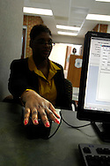 Carolinas Health Care System (Charlotte, NC) hand scanner brings up patient records at check-in.