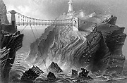 Suspension bridge to the South Stack lighthouse near Holyhead, Wales.  Steel engraving c1860.