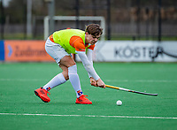 BLOEMENDAAL - Daan van Os als vliegende keep  tijdens de hockeywedstrijd landelijke jeugd, Bloemendaal  JA1- MHC Laren JA1 (2-3).  COPYRIGHT KOEN SUYK