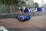 Sakon Yamamoto crashing into barrier during practice during the FIA Formula E Visa London ePrix  at Battersea Park, London, United Kingdom on 28 June 2015. Photo by Matthew Redman.