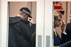 © Licensed to London News Pictures. 01/10/2019. Manchester, UK. An Armed Police officer inside the International Lounge were called after an alleged incident at the Conservative Conference today, the lounge & press room are now on lockdown. Third day of the Conservative Party Conference at Manchester Central in Manchester. Photo credit: Andrew McCaren/LNP