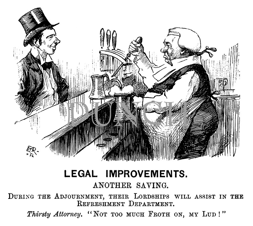 """Legal Improvements. Another saving. During the adjournment, their lordships will assist in the refreshment department. Thirsty Attorney. """"Not too much froth on, my lud!"""" (an ironic Victorian cartoon shows a judge serving a pint of beer to a barrister)"""