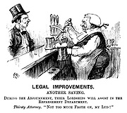 "Legal Improvements. Another saving. During the adjournment, their lordships will assist in the refreshment department. Thirsty Attorney. ""Not too much froth on, my lud!"" (an ironic Victorian cartoon shows a judge serving a pint of beer to a barrister)"