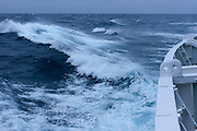 Medium seas and waves in the Drake Passage between South America and Antarctica seen from the Scandinavian-built ice-breaker Akademik Sergey Vavilov, which was originally built for the Russian Academy of Science and still used occasionally by scientists.