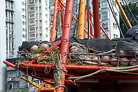 Fishing nets on deck of boat moored in Aberdeen fishing village Hong Kong Hong Kong August 2008