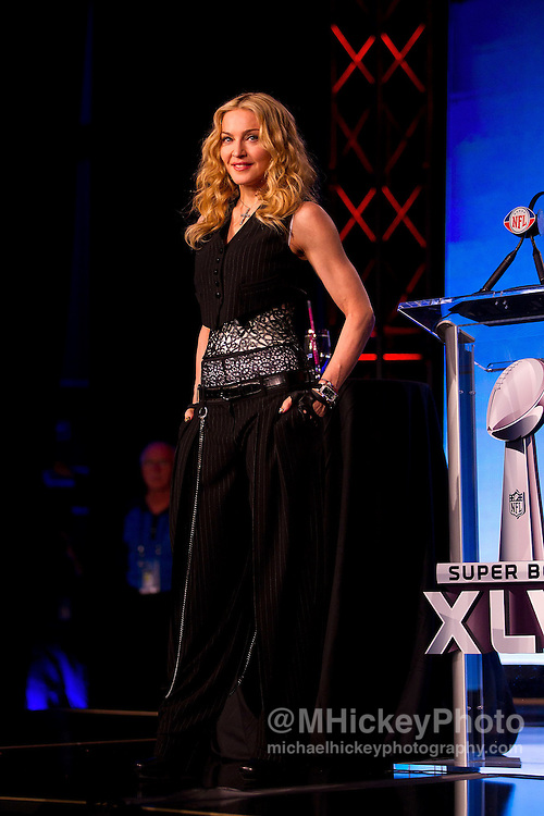 Madonna appears at the Super Bowl XLVI Bridgestone Halftime Special press conference at the Motorola Super Bowl Media Center in Indianapolis, Indiana<br /> Photos by Michael Hickey<br /> NO SALES