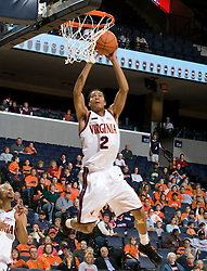 Virginia Cavaliers G Mustapha Farrakhan (2) shoots against Carson-Newman. The Virginia Cavaliers men's basketball team defeated the Carson-Newman Eagles 124-65 in an exhibition basketball game at the John Paul Jones Arena in Charlottesville, VA on November 4, 2007.