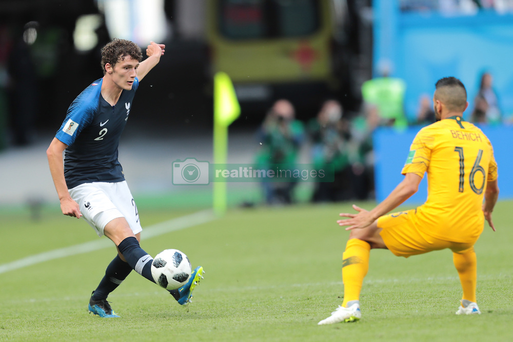 June 16, 2018 - Kazan, Kazan, France - defender Benjamin Pavard of France National team and defender Aziz Behich of Australia National team during a  Group C 2018 FIFA World Cup soccer match between France and Australia on June 16, 2018, at the Kazan Arena in Kazan, Russia. (Credit Image: © Anatolij Medved/NurPhoto via ZUMA Press)