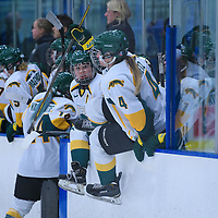 5th year defender Alexis Larson (22) of the Regina Cougars in action during the Women's Hockey Home Game on November 26 at Co-operators arena. Credit: Arthur Ward/Arthur Images