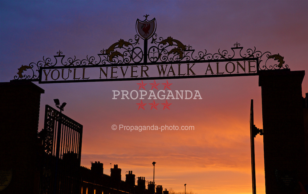 LIVERPOOL, ENGLAND - Sunday, December 11, 2016: The Shankly Gates outside Liverpool's Anfield Stadium before the FA Premier League match against West Ham United. (Pic by David Rawcliffe/Propaganda)