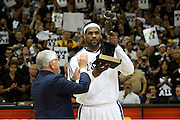 May 3, 2010; Cleveland, OH, USA; NBA commissioner David Stern presents Cleveland Cavaliers forward LeBron James (23) with his second MVP trophy prior to the start of game two in the eastern conference semifinals against the Boston Celtics in the 2010 NBA playoffs at Quicken Loans Arena. Mandatory Credit: Jason Miller-US PRESSWIRE