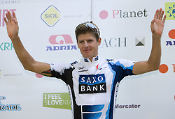 Jakob Fuglsang (DEN) of Team Saxo Bank, General classification winner after 2nd stage of Tour de Slovenie 2009 from Kamnik to Ljubljana, 146 km, on June 19 2009, Slovenia. (Photo by Vid Ponikvar / Sportida)