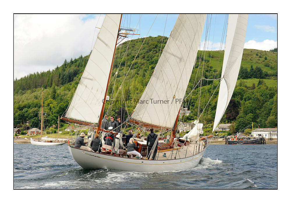 Day three of the Fife Regatta, Cruise up the Kyles of Bute to Tighnabruaich<br /> Latifa, 8, Mario Pirri, ITA, Bermudan Yawl, Wm Fife 3rd, 1936<br /> <br /> * The William Fife designed Yachts return to the birthplace of these historic yachts, the Scotland&rsquo;s pre-eminent yacht designer and builder for the 4th Fife Regatta on the Clyde 28th June&ndash;5th July 2013<br /> <br /> More information is available on the website: www.fiferegatta.com