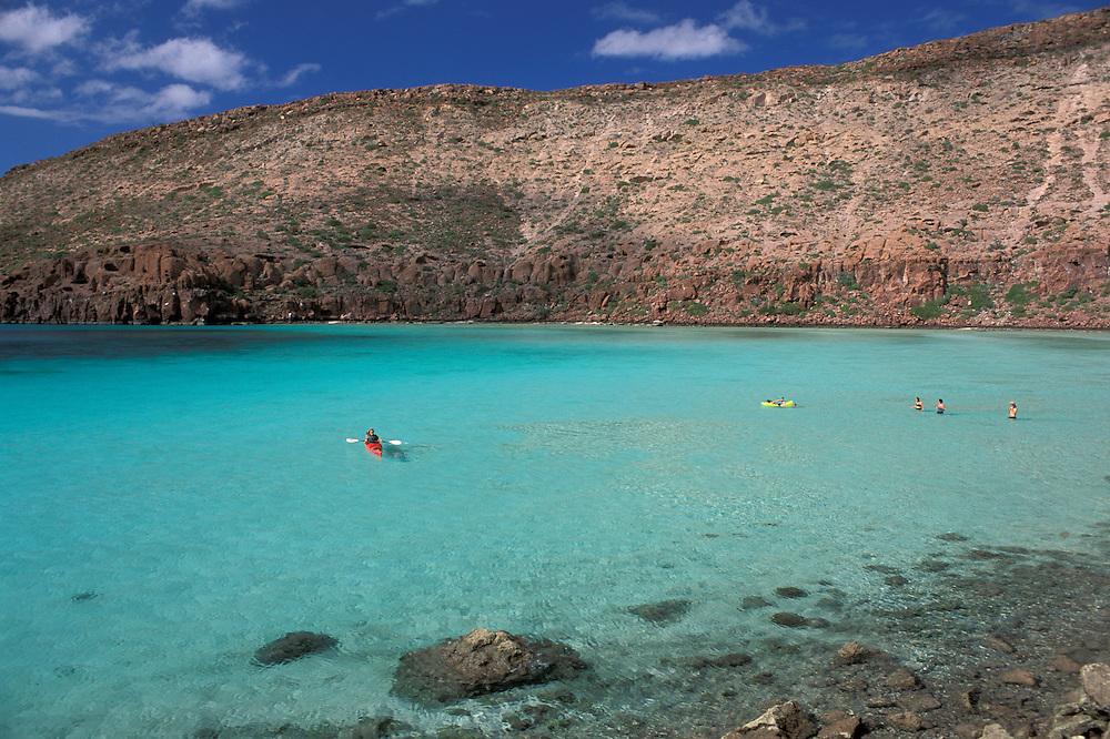 Kayak; Desert Lanscape; Isla Espiritu Santo; Sea of Cortez; Gulf of California; Baja California; Mexico