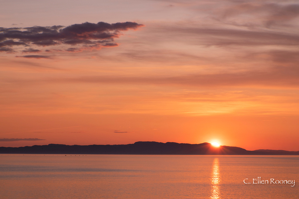 Sunrise near Kristiansund on the northwest coast of Norway during a Hurtigruten cruise, Trondelag, Norway, Europe