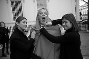 LOUISE WILSON; SIR NORMAN ROSENTHAL; JANE WILSON, , INTERCOURSE: Re-enacting Eisenstein: The Odessa Steps Sequence from Battleship Potemkin<br /> Jane and Louise Wilson directed the re-enactment on the steps outside the ICA. 26 November 2011.
