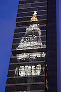 New York, Metropolitan life building reflection on One Madisson mirror tower on 23rd street