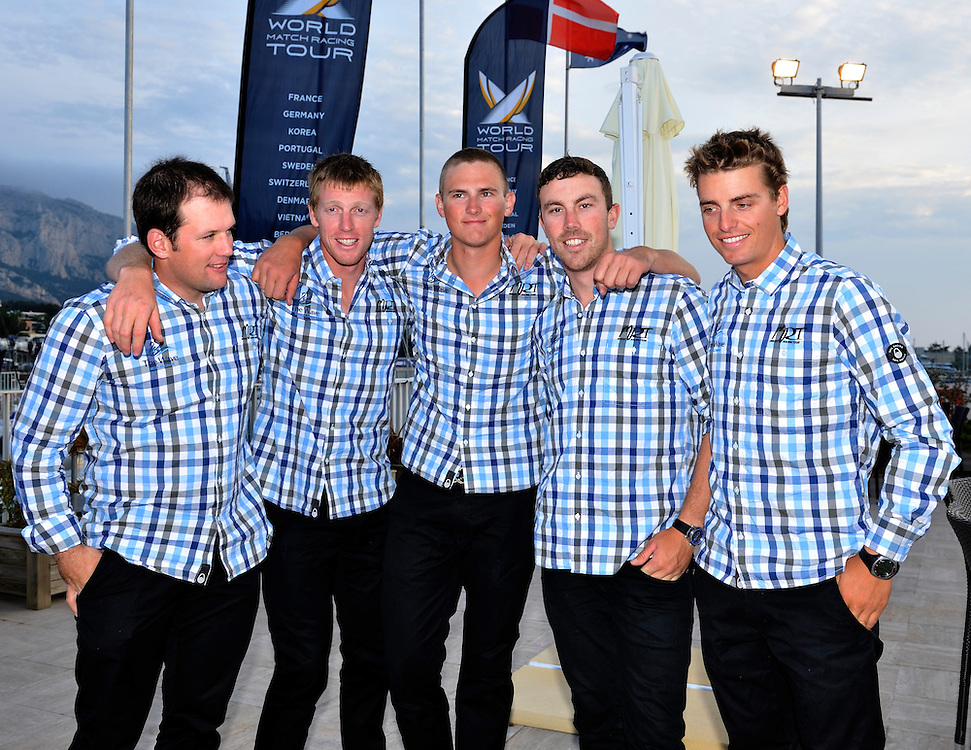 The Wave Muscat Team at the Cocktail party at Match Race France. Photo: Chris Davies/WMRT