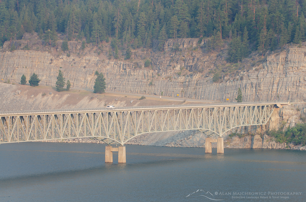 Koocanusa Bridge spanning the Koocanusa Reservoir is the longest and highest bridge in Montana
